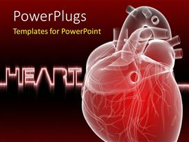 Presentation design having human heart anatomy with keyword in background