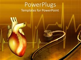 Presentation theme enhanced with human heart with a stethoscope on a brown colored background