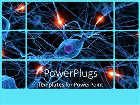 Presentation theme consisting of human nerve cells showing passive ones and active ones glowing