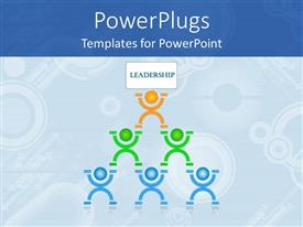 Amazing PPT layouts consisting of human pyramid leadership teamwork planning communication collaboration blue background
