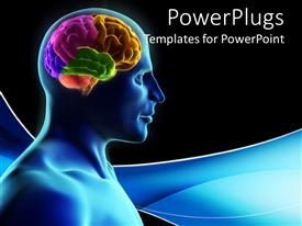 PPT theme enhanced with human silhouette with parts of the brain in color on blue wave and black background