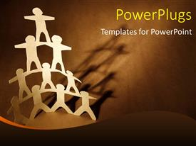 Audience pleasing PPT layouts featuring human team pyramid on dark brown background