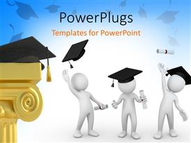 Presentation design featuring humanoids with graduation degree tossing graduation caps in air