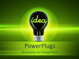 Presentation consisting of idea bulb over a glowing green background depicting innovation