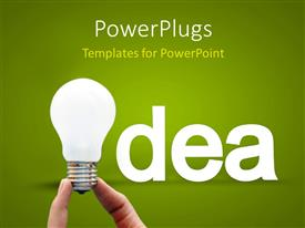 Elegant presentation theme enhanced with idea concept with a hand holding the bulb on a green background