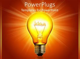 Audience pleasing PPT theme featuring idea light bulb glowing, orange background