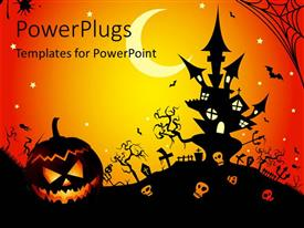 PPT theme having illustration of a Halloween night
