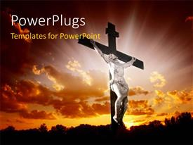 Beautiful presentation design with an image of Jesus Christ on a cross with a bright light