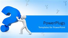 PPT layouts with 3D man pushing large blue question mark symbol on white background