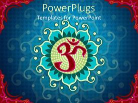 5000 lotus flower powerpoint templates w lotus flower themed slide deck consisting of indian aum symbol over blue background with red edges template size toneelgroepblik Image collections