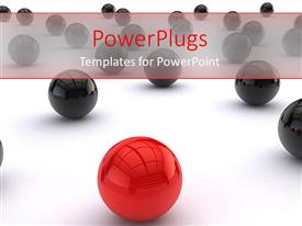 Amazing presentation theme consisting of distinct red ball among black balls on white background