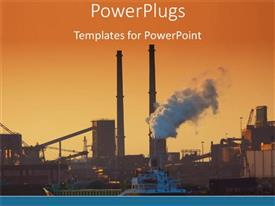 Colorful PPT theme having an industrial background with place for text in front