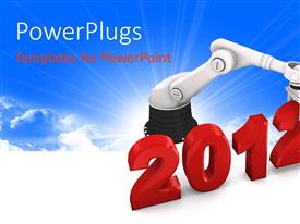 PPT theme enhanced with the new year celebration of 2012 with the help of a robot