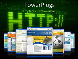 Elegant PPT theme enhanced with internet depiction with web browser pages and web related terms in background