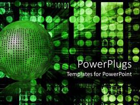 Colorful presentation design having internet metaphor with binary code on green ball