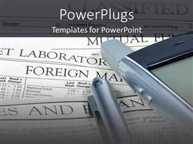 Amazing PPT layouts consisting of investing theme with newspaper, cell phone and pen, stock market