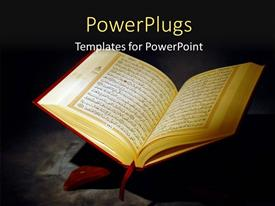Beautiful slides with islamic Holy Quran Depiction with Arabic Text over a dark background
