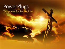 Beautiful PPT theme with jesus on the holy cross with clouds in the background