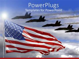 PPT layouts with jet fighters flying over American flag