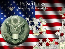 Colorful presentation theme having jigsaw of American flag placed on dollar bills