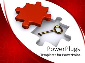 PPT theme enhanced with a jigsaw puzzle along with a key