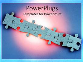 Elegant slides enhanced with jigsaw puzzle pieces arranged in straight line over blue background