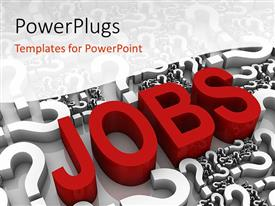 Presentation theme having the word jobs with a number of queston marks