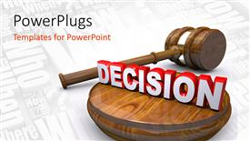 Presentation theme having a gavel and the symbol of decision
