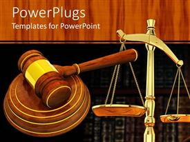 Beautiful PPT theme with a judges wooden gravel and a justice balance scale