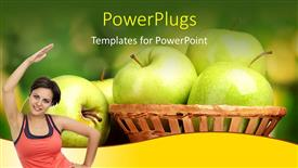 Presentation design featuring a smiling lady posing with some apples behind her
