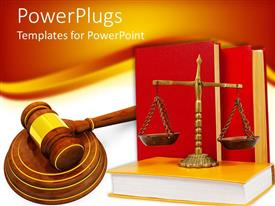 PPT layouts enhanced with justice scale on a yellow book with two red books behind