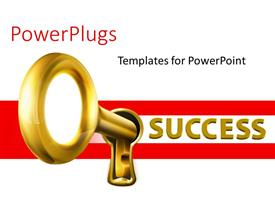PPT layouts with a key in a keyhole of success