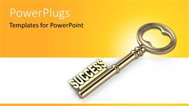 Amazing PPT theme consisting of a close up view of a gold colored key and some text on it