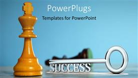 PPT theme consisting of a key along with a chess piece
