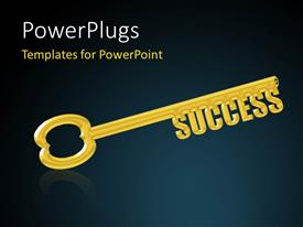 PPT theme enhanced with key to Success, a Gold Key with the Word Success