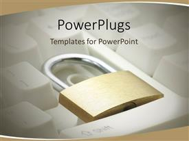 Elegant presentation theme enhanced with a keyboard with a lock and brownish background