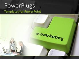 Amazing PPT layouts consisting of a keyboard with the word emarketing on the enter button