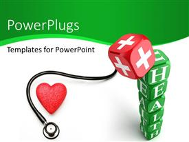 PPT theme having keyword Health written on green dices with stethoscope and red color medical symbol