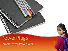 Audience pleasing PPT theme featuring a kid with a bag and pencils in the background