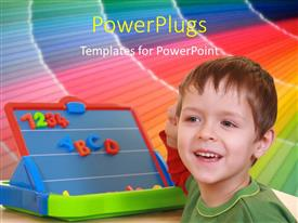Audience pleasing presentation theme featuring a kid with a colorful background and place for text