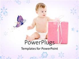 PPT theme enhanced with a kid with a gift hamper and a butterfly
