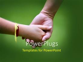 Presentation theme consisting of a kid holding the hand of her brother with greenish background