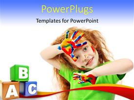 Amazing presentation design consisting of a kid playing with various colors with bluish background
