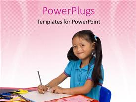 PPT theme featuring a kid studying and smiling with pinkish background