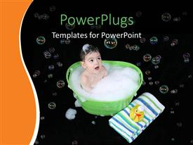 Beautiful PPT theme with a kid taking a bath with bubbles in background
