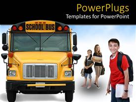 Elegant presentation enhanced with kids with backpacks and notebooks about to get on school bus