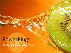 Colorful theme having kiwi with water splash and orange slice