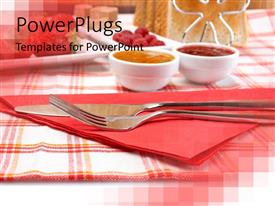 PPT theme having the knife and fork placed in front with background consisting of dining table