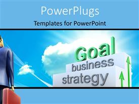 Colorful PPT theme having 3D businessman looks up at goal on business stairs