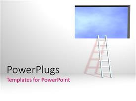 PPT theme featuring a ladder and a window with a white background